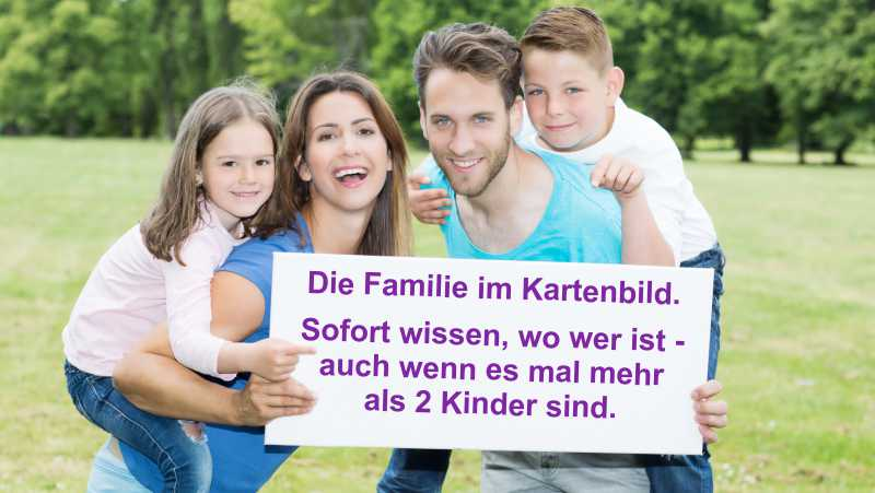 Familie mit Kindern im Kartenbild zuordnen